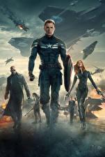 Image Captain America: The Winter Soldier Captain America hero Heroes comics Scarlett Johansson Chris Evans Shield Black Widow. Bucky Mask film Celebrities