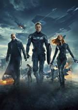 Pictures Captain America: The Winter Soldier Captain America hero Heroes comics Scarlett Johansson Chris Evans Shield Black Widow, Bucky Mask film Celebrities