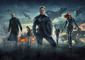 Pictures Captain America hero Superheroes Chris Evans Captain America: The Winter Soldier Shield Steve Rogers Celebrities Girls