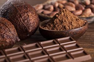 Fotos Schokolade Hautnah Schalenobst Schokoladentafel Kakaopulver Lebensmittel