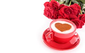 Images Coffee Cappuccino Valentine's Day Cup Saucer White background Heart Food