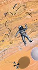 Bureaubladachtergronden Astronaut Getekende Ruimte