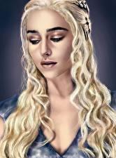 Fotos Daenerys Targaryen Game of Thrones Gezeichnet Emilia Clarke Blondine Haar Prominente Mädchens