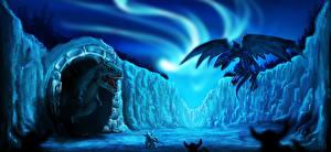 Bureaubladachtergronden Dinosauriërs Een draak Krijger Fantasy
