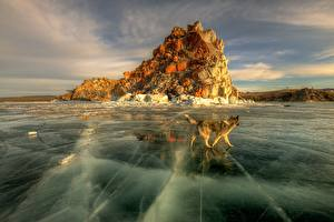 Pictures Dogs Russia Lake Ice Baikal Nature