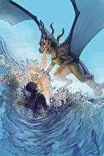 Images Dragons Flame Water Magician Battles Wings Fantasy