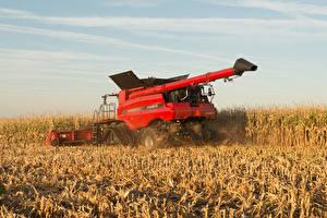 Bilder Acker Landwirtschaftlichen Maschinen Mähdrescher Rot Spitze