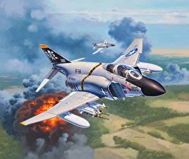Hintergrundbilder Flugzeuge Jagdflugzeug Gezeichnet Bomber Amerikanischer Set F-4J Phantom II