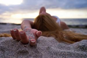 Bilder Finger Großansicht Hand Sand Mädchens