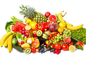 Images Fruit Vegetables Grapes Pineapples Pears Bananas Tomatoes Garlic Raspberry Strawberry Bell pepper White background Food