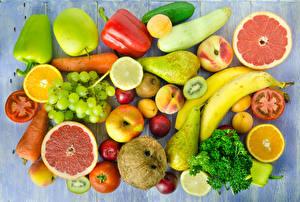 Wallpapers Fruit Vegetables Pepper Apples Pears Bananas Grapes Food