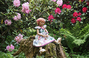 Images Parks Tree stump Little girls Doll Frock Moss Grugapark Essen Nature