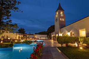 Wallpaper Greece Villa Evening Pools Shrubs Street lights Rhodos
