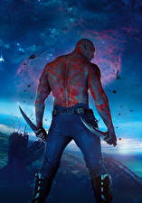 Pictures Guardians of the Galaxy Men Knife Back view Aliens Human back Drax Movies