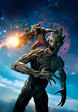 Images Guardians of the Galaxy Raccoons Machine guns Firing Screaming Rocket, Groot Movies