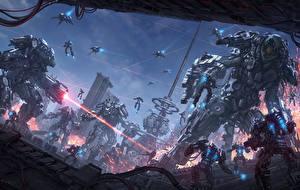Wallpaper Illustrations to books Battles Warriors Robots Chris Fox, Planet Strider