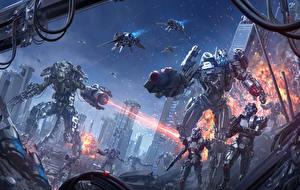 Bakgrunnsbilder Bokillustrasjoner Kriger Robot Skyting Chris Fox, Planet Strider