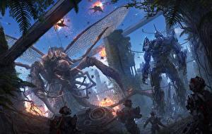Bakgrunnsbilder Bokillustrasjoner Kriger Monster Robot Chris Fox, Planet Strider