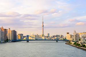 壁纸、、日本、東京都、建物、川、橋、空、都市