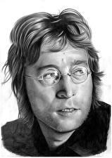 Photo John Lennon Painting Art The Beatles Men Black and white Head Eyeglasses White background Celebrities