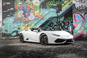 Wallpapers Lamborghini White Convertible 2015-16 Huracan LP 610-4 Spyder auto