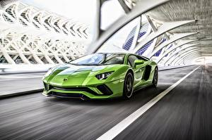 Pictures Lamborghini Yellow green Motion 2017 Aventador S Cars