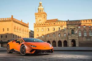 Wallpaper Lamborghini Orange 2017 Huracan Performante
