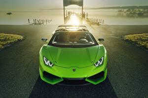 Fotos Lamborghini Gelbgrüne Vorne Cabrio Metallisch 2017 Novitec Torado Huracan LP 610-4 N-Largo Autos