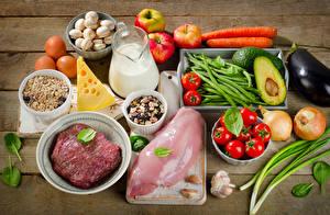Bilder Fleischwaren Milch Gemüse Käse Müsli Pilze Tomate Äpfel Knoblauch Kanne