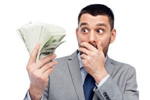 Bilder Mann Geld Dollars Finger Weißer hintergrund Erstaunen