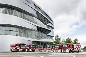 Photo Mercedes-Benz Fire engine Many 2016 Antos 1843 Rosenbauer AT HLF 40 Cars