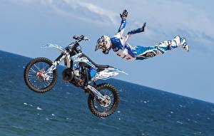 Wallpaper Motorcyclist Jump Uniform Helmet Flight Motorcycles