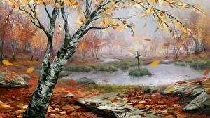 Hintergrundbilder Gezeichnet Herbst Sumpf Kreuz Birken Natur