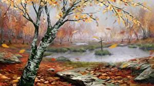 Image Painting Art Autumn Swamp Cross Birch Nature