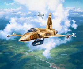 Bilder Gezeichnet Flugzeuge Jagdflugzeug US Flug Northrop F-5E Tiger II