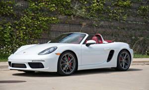Pictures Porsche White Metallic Cabriolet 2017 718 Boxster S automobile