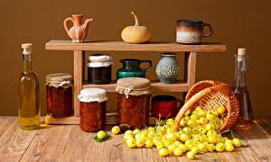 Pictures Fruit preserves Still-life Pumpkin Wood planks Wicker basket Jar Bottle Cup Pitcher Food