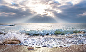 Bilder Meer Wasserwelle Lichtstrahl Horizont