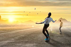 Wallpapers Skateboard Sunrise and sunset Asphalt Aerostat Two Sport Girls