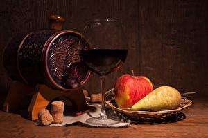 Images Still-life Barrel Wine Apples Pears Stemware