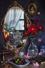 Image Still-life Cherry Candles Mirror Vase Food