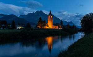 Wallpapers Switzerland Houses Temple Mountain River Night Sils Cities