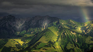 Pictures Switzerland Mountain Alps Night Nature