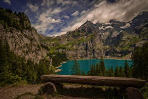 Fotos Schweiz Gebirge See Landschaftsfotografie Fichten Bank (Möbel) Kanton Bern