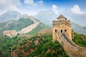 Fotos China Chinesische Mauer Gebirge Natur