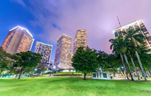 Bilder Vereinigte Staaten Gebäude Wolkenkratzer Florida Miami Bäume Straßenlaterne Städte