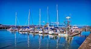 Bilder USA Schiffsanleger Segeln Jacht Kalifornien Bucht Saulsalito