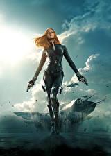 Picture Warriors Pistol Superheroes Captain America: The Winter Soldier Scarlett Johansson Redhead girl Black Widow film Girls