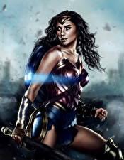 Pictures Wonder Woman hero Wonder Woman (2017 film) Painting Art Warriors Gal Gadot film Girls