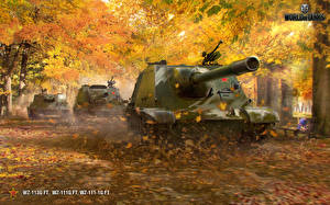 Pictures World of Tanks Self-propelled gun Autumn Chinese WZ-113G FT, WZ-111G FT, WZ-111-1G Games